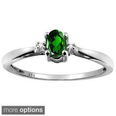 Silver Chrome Diopside Gemstone and White Diamond Accent Solitaire Ring
