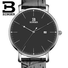 29.99$  Buy here - http://aiur3.worlditems.win/all/product.php?id=32594486139 - Switzerland BINGER women watches luxury brand quartz leather strap ultrathin Complete Calendar Wristwatches Waterproof B3053W-2