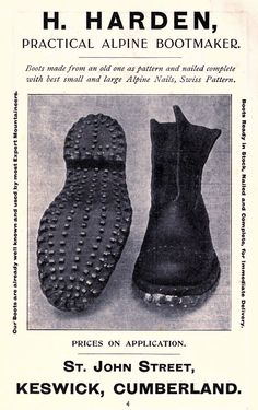 Mountaineering Boots of the early century — The American Alpine Club Boots Nails, Mountain Crafts, Alpine Climbing, Mountaineering Boots, Recreational Activities, Twist Outs, Roller Skating, Cool Boots, Waterproof Boots