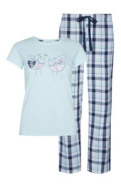 Primark - Pijama azul con pájaros enamorados Cute Pjs, Cute Pajamas, Girls Pajamas, Pajamas Women, Loungewear Outfits, Pajama Outfits, Night Suit For Women, Womens Pjs, Cute Sleepwear