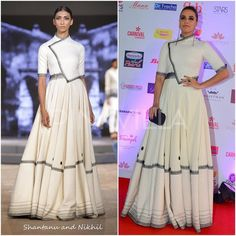Celebrity Style,neha dhupia,Shantanu and Nikhil,Outhouse,Femina Miss India 2017 Indian Gowns, Indian Attire, Indian Outfits, Indian Wear, African Inspired Fashion, Africa Fashion, Indian Fashion, Indian Designer Outfits, Designer Dresses