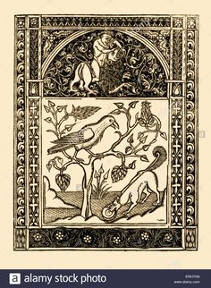 Aesop 's fables: The Fox and The Crow. Illustration after 1485 edition printed in Naples by German printers for Francesco del Stock Photo