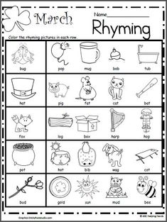 Free March Rhyming Worksheet for preschool and Kindergarten practice. Students color the pictures in each row that rhyme with the first picture.
