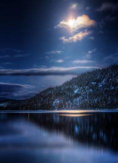 Night Light... Donner Lake, 1am. by Karen Hutton