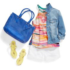 Stitch Fix Stylist: This look could not be more perfect! Def looking for a denim jacket this color! Bbq Outfits, Cute Outfits, Summer Outfits, Jean Outfits, Pretty Outfits, Stitch Fit, Stitch Fix Outfits, Stitch Fix Stylist, Bold Stripes