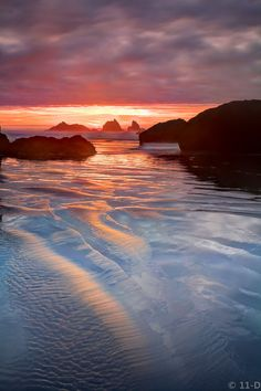 ~~Dreams Wash Away • gently lapping waves and a pink sunset, Bandon, Oregon by 11thdimensionphoto~~