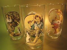 Coca-Cola Glasses set of three , circa 1985, featuring Norman Rockwell art from 1935