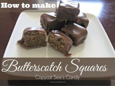 The butterscotch square from See's Candies is one of the best pieces of chocolate they have. It has a wonderful brown sugar and vanilla flavor that melts in yo… Amish Recipes, Sweet Recipes, How To Make Butterscotch, Chocolate Candy Recipes, Apple Pie Bites, Sugar Candy, Homemade Candies, Breakfast Dessert, Food Gifts