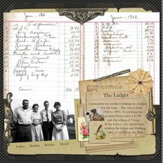 Ledger Heritage Scrapbook Layout by Sanra from DSP/ think about working with old cookbook with journal entry. Like the cut-out photo of the people. Heritage Scrapbook Pages, Scrapbook Page Layouts, Scrapbook Cards, Scrapbook Photos, Scrapbook Borders, Scrapbooking Vintage, Digital Scrapbooking, Scrapbooking Ideas, Family History Book