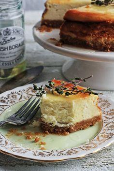 Goat cheese, honey, and thyme cheesecake.