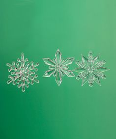 Take a look at this Clear Snowflake Ornament Set on zulily today!