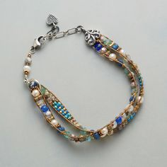 """DAINTY DUET BRACELET--Luminous pearls join sparkling Czech fire-polished, brass and Japanese seed beads in a double-strand bracelet, hand loomed by Adonnah Langer and finished with sterling silver end caps and clasp. USA. Exclusive. 7-1/4"""" to 8""""L."""