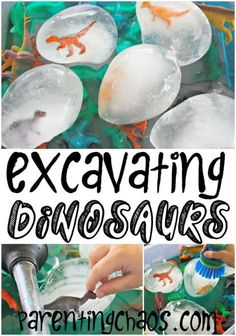 Excavating Dinosaurs: Melting ice with salt and water. Science, water play, and fine motor development all wrapped up in a fun, icy activity!