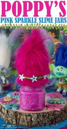 DreamWork's TROLLS Poppy's Pink Sparkle Slime Jars! #TrollsFHEInsiders #BringHomeHappy