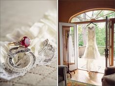 bride getting ready :: Watters lace strapless wedding gown :: vintage wedding jewelry :: Airlie wedding :: photography by Rebecca Keeling Studios