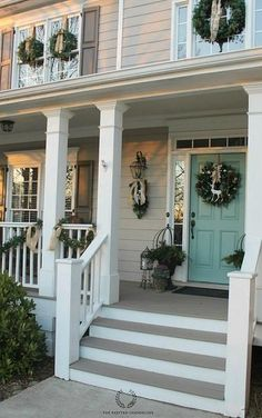 Charming Shutter Colors For Tan House Christmas Porch Tour 2014 Design Exterior, House Paint Exterior, Exterior House Colors, Beige House Exterior, Exterior Stairs, Outdoor House Colors, Exterior Siding, Farmhouse Exterior Colors, Siding Colors For Houses