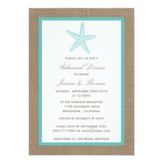 Turquoise Starfish Burlap Beach Rehearsal Dinner 5x7 Paper Invitation Card
