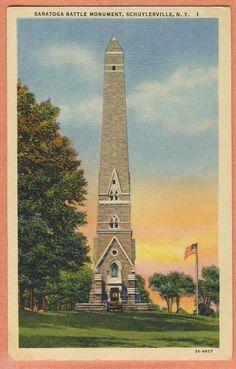vintage scenic postcard NEW YORK Schuylerville Saratoga Battle Monument linen