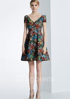 Dacron Embroidery V-neck V-back Short Sleeves Short Length A-line Homecoming / Prom Dresses Cheap Cocktail Dresses, Homecoming, Short Sleeves, High Neck Dress, Prom Dresses, V Neck, Embroidery, Fashion, Turtleneck Dress