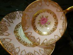Vintage Windsor Tea Cup and Saucer H P Pink Rose Pink Band Gold Lace Trim