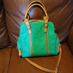 Big Buddha Teal leather 3 pocket gold trim super cute purse Big Buddha Bags