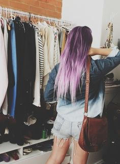 Image about girl in style by Camila Alderete on We Heart It Lavender Hair, Purple Hair, Ombre Hair, Purple Ombre, Punk, Dream Hair, Pretty Hairstyles, Casual Hairstyles, Hair Looks