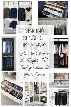 Making Sense of Ikea PAX How to Choose the Right PAX Configuration for Your Closet Space The Happy Housie Ready to organize your clothing with a closet organization sys. Ikea Closet Hack, Ikea Pax Wardrobe, Closet Hacks, Walk In Closet Organization Ideas, Ikea Wardrobe Storage, Ikea Closet System, Walk In Closet Ikea, Ikea Pax Hack, Ikea Bathroom Storage