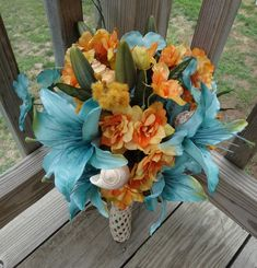 beach destination wedding teal and orange
