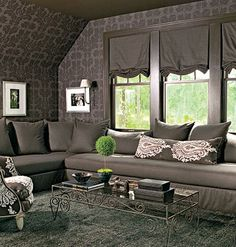do not care for color scheme, but two twin beds are cleverly disguised as one sectional sofa...might be interesting for the attic