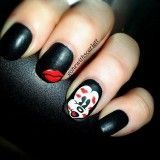 38 Creative Valentine Nail Art Designs Pictures - Nails C Red Nail Designs, Simple Nail Art Designs, Easy Nail Art, Mickey Mouse Nails, Minnie Mouse, Kiss Nails, Valentine Nail Art, Round Nails, Super Nails