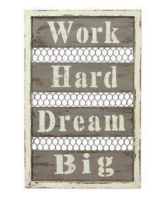 Look at this #zulilyfind! Wood & Wire 'Work Hard Dream Big' Wall Décor #zulilyfinds