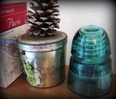 Vintage HC CO Teal Green Glass Electrical Insulator. #BarrenRiverEmporium