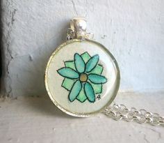 Original Art Blue and Green Flower Necklace by LaRueStudio on Etsy