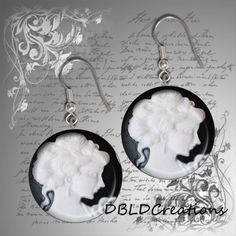 Cameo Inspired Round Wood Tile Earrings   Unique by DBLDCreations, $9.00