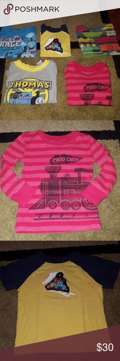 Boy's 2T train shirt bundle Thomas the Train Boys 2T train shirt bundle two of the shirts are Thomas the Train, all shirts are in great preowned condition with no flaws.  Check out my other listings, baby girl, boys 2T and 3T and Bebe items.  I now offer 20% discount on three or more items purchased. Shirts & Tops