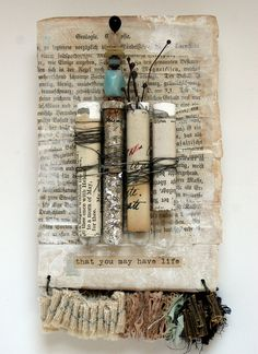 Collage art--test tubes by Rebecca Sower, via Flickr