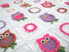 New granny square hand crochet Owl blanket.    made with 100 % soft Acrylic crochet yarn. Main color white. Approximately 39 inch by 39 inches