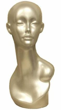 Silver Female Mannequin Head, Unique Display Mannequin Form,  Fashion Mannequin Display, High Fashion Jewelry Display