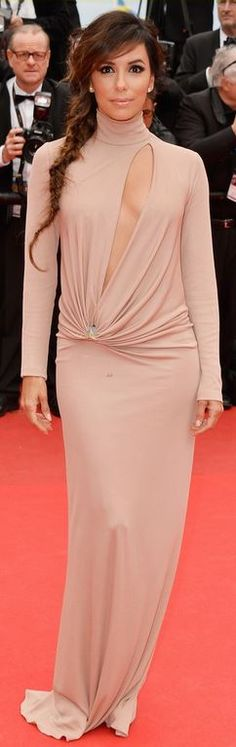 Who made Eva Longoria's nude cut out gown, jewelry, and satin platform pumps that she wore in Cannes?