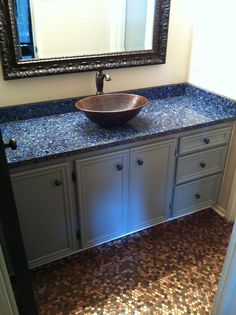 We Installed The Beautiful Recycled Glass Countertop And The Customer Came