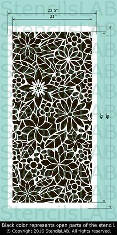 Reusable Stencil For Walls - Seamless Floral Pattern Wall Stencil - Spring Collection Wall Stencil - Floral Motive Wall Stencil - Decorative Wall Stencil - Leaf