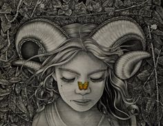 "Alessia Iannetti,""The Aries and the Butterfly"", 2011, graphite, watercolor, colored pencils and ink on wood, 40 x 50 cm."