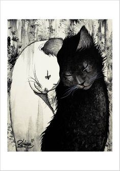 Original art print made on thick photo paper reproduction of a hand … - crazy cats Image Chat, Art Et Illustration, Cat Illustrations, Illustration Pictures, Art Original, Crazy Cats, Cat Love, Cats And Kittens, Ragdoll Kittens