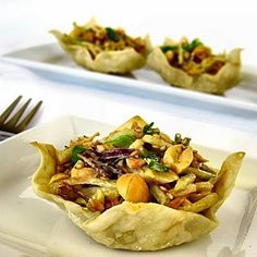 Thai Peanut Slaw in Won Ton Cups vegetables-side-dishes