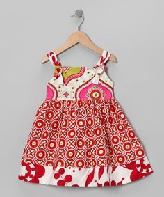 Blue Juniper Red Circle Camille Dress -Toddler