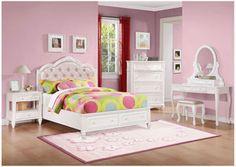 White Full Bed, Dresser, Mirror