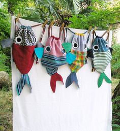 Along with my Fish friend - Drawstring backpack for children- Nursery - Made to order by LaGagiandra on Etsy Fabric Crafts, Sewing Crafts, Fishing Backpack, Craft Projects, Sewing Projects, Diy Couture, Creation Couture, Kids Bags, Sewing For Kids