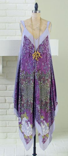 70s silk boho dress - lovely 1970s lilac silk scarf handkerchief bohemian hippie dress caplet