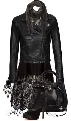 """""""Black Leather and Lace"""" by jackie22 ❤ liked on Polyvore"""
