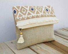 Boho pouch linen bag kilim pattern moroccan foldover by VLiving
